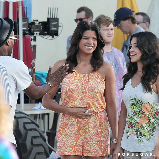 Gina Rodriguez and Andrea Navedo on Jane the Virgin Set