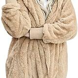 Dokotoo Fuzzy Fleece Open-Front Hooded Cardigan in Tan