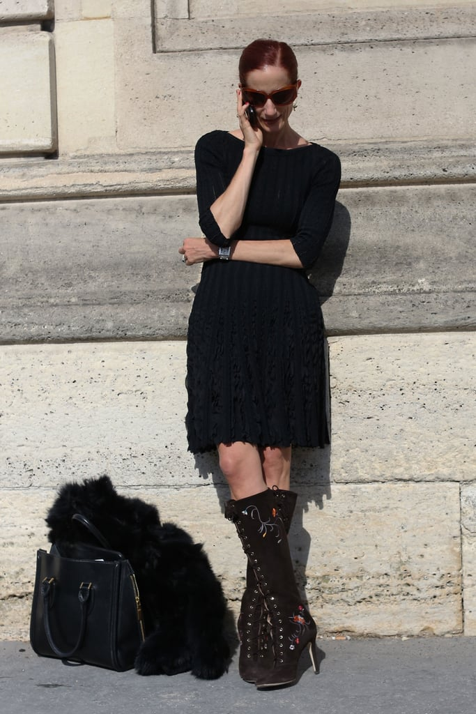 Knee-high lace-ups gave this simple dress a not-so-simple finish.