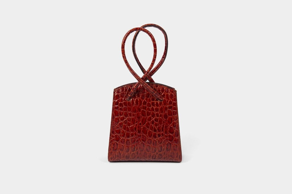 Little Liffner Twisted Wristlet in Red Croc
