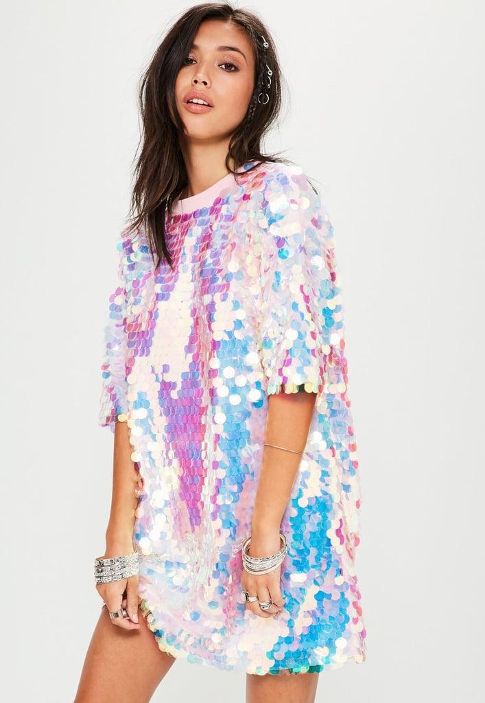 Missguided Pink Sequin T-Shirt Dress