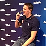 Ryan Lochte posed with a special blinged out Gillette razor. Source: Twitter user eswright