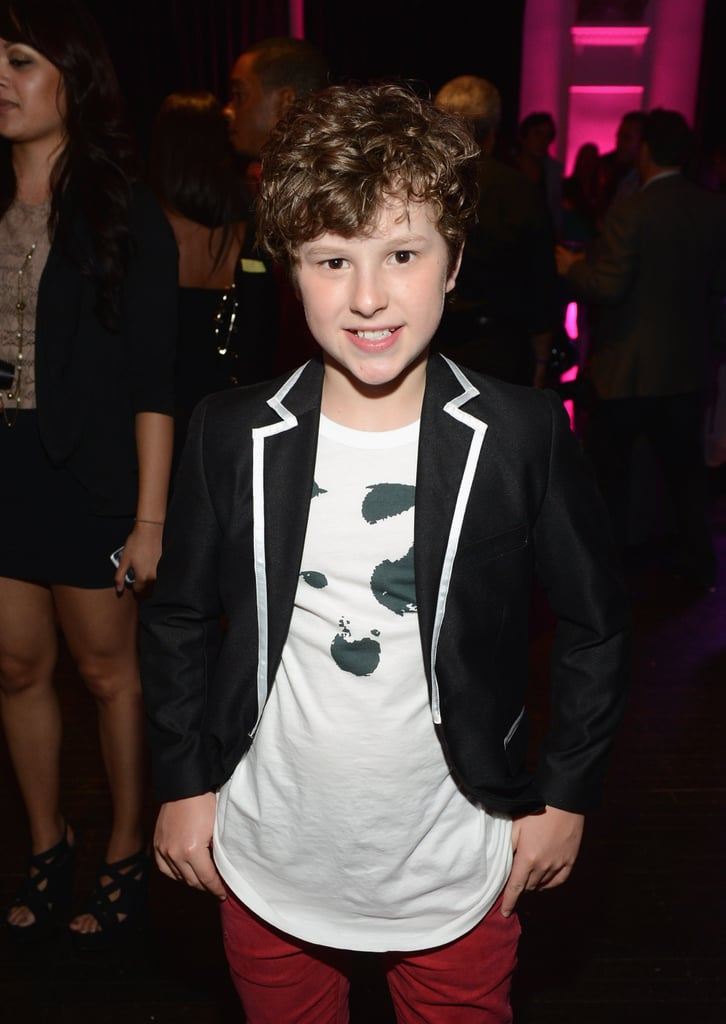 Nolan Gould sported red pants to the event.