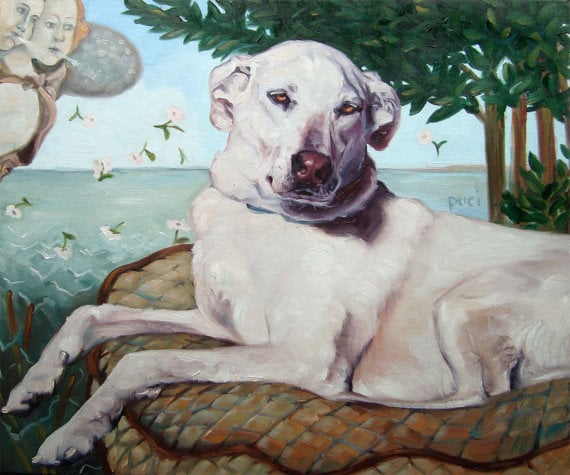 """Parody a classic with a """"Birth of Venus"""" painting of your dog or cat ($387)."""