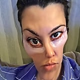 """Kourtney Kardashian pampered herself post-Thanksgiving. """"Eye mask selfie on my Friday night. No photoshop involved, just pure beauty,"""" she joked about her distorted selfie."""