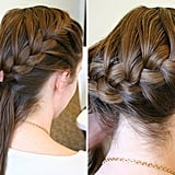 Once you have this small foundation braid, begin adding more hair with each crossover. To do this, gather a small bit of hair from the hairline, add it to the rightmost strand, and then cross it over the middle strand. Pull it tight, but keep the strands separated at all times. Repeat on the other side by gathering a small bit of hair closest to the side part (away from the hairline), adding it to the leftmost strand, and then crossing it over the middle strand. Continue this braiding pattern until you are about one inch away from the right neckline. At this point, start to braid horizontally across to the left neckline. Tip: keeping the braid tight and separating the three sections of hair at all times will help you control the direction of the braid.