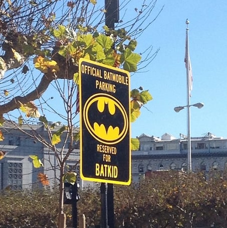 A special sign saved a spot for the Batmobile. Source: Instagram user misscherilyn