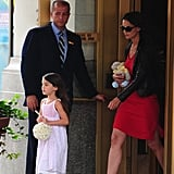 Katie Holmes and Suri Cruise walked out of their NYC apartment.