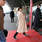 Natalie Portman entered the Paris airport with son Aleph.