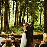 An Elopement in a Dark, Hidden Forest Makes This Bride's Dress Stand Out Even More