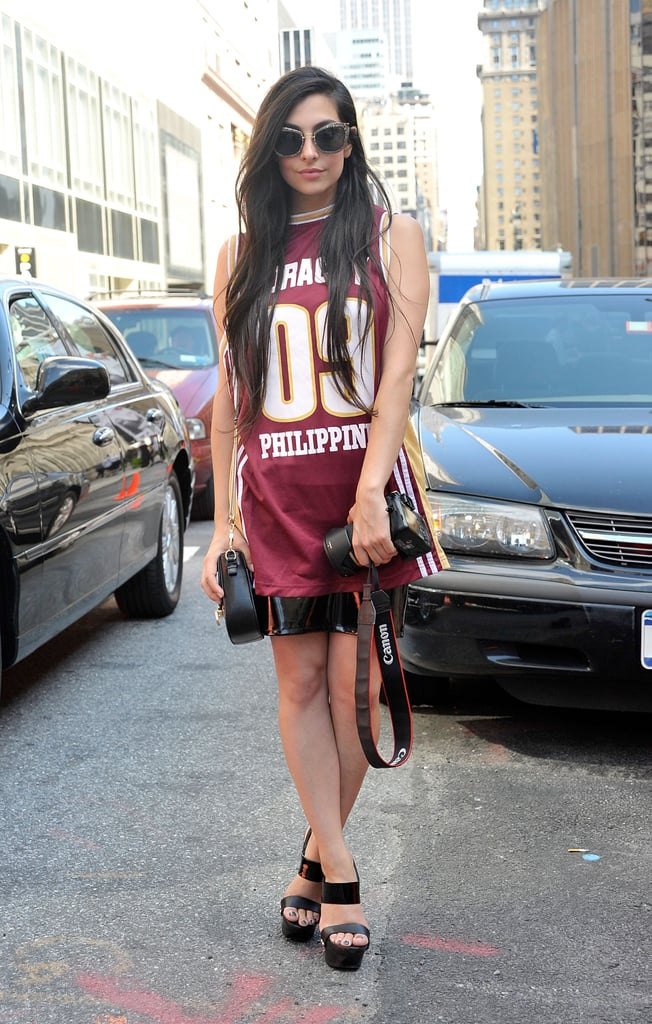 Sporty-cum-cool via a jersey-style top and strappy wedges.