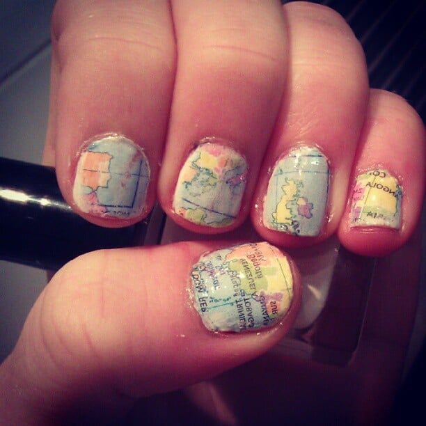 Map nail art cool upcycling projects popsugar middle east smart map nail art gumiabroncs Images