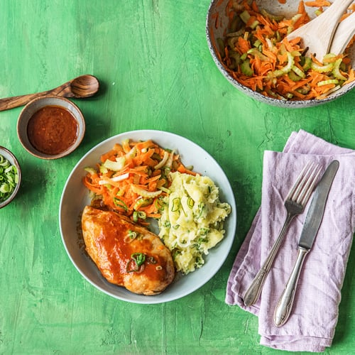 Grilled Buffalo Chicken With Carrot-Celery Slaw and Mashed Taters