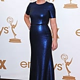 Best actress in a comedy nominee Amy Poehler wore a floor-length blue dress.