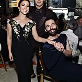 Aly Raisman, Antoni Porowski, and Jonathan Van Ness at the Elton John AIDS Foundation Oscars Party