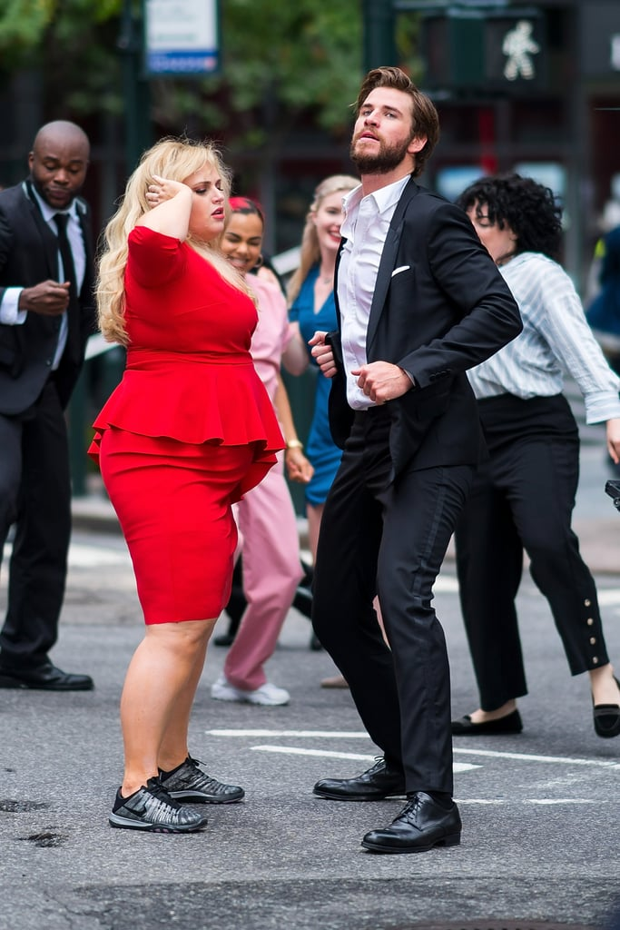 "We get it: Mondays are rough. But we've got the perfect treat to cheer you up! On Sunday, Liam Hemsworth, Rebel Wilson, Priyanka Chopra, and Adam DeVine were spotted dancing on the streets of NYC as part of their upcoming film, Isn't It Romantic. The cast looked like they had the best time as they showed off their smooth moves, and at one point, Liam even whipped out a saxophone and started playing in the middle of the street.  ""I think it's safe to say I'm bringing saxy back. ;) Dad jokes. (Not actually a dad),"" Liam joked on Instagram. ""Had the best time filming with this bunch! A truly great group of people. So many laughs. Can't wait for everyone to see it."" The romantic comedy doesn't hit theaters until Valentine's Day 2019, but we have a feeling it's going to be adorable.       Related:                                                                                                           30 Steamy Liam Hemsworth Pictures That Will Leave You Guzzling a Bottle of Water                            View this post on Instagram                      A post shared by Liam Hemsworth (@liamhemsworth) on Jul 15, 2018 at 10:39am PDT"