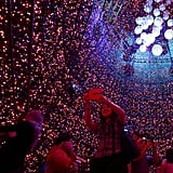 Visitors to Singapore stood inside the giant Christmas tree.