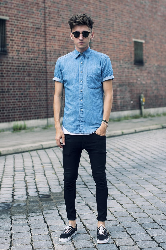 This hipster moment is about to inspire one of our favorite Fall uniforms — there may be few things cooler (or easier) than black skinnies and a chambray button-down, finished with killer shades and awesome kicks. It's what all the cool kids are wearing.   Source: Lookbook.nu