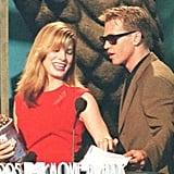 Val Kilmer presented Sandra Bullock with an award for most desirable female back in 1995.