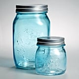 Light Blue Glass Mason Jars, Set of 6 ($15)