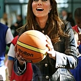 Kate Middleton shot a basketball in Glasgow.