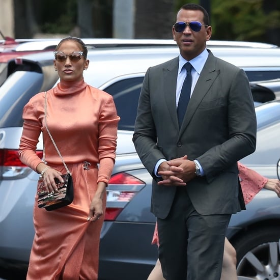 Jennifer Lopez Peach Graduation Dress With Alex Rodriguez