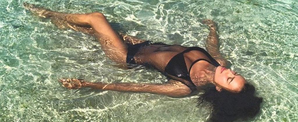 Irina Shayk Black Mesh Swimsuit
