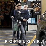 January Jones made a Friday grocery run in LA with her son, Xander.
