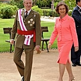 Queen Sofía's Coral Skirt Suit, May 2008