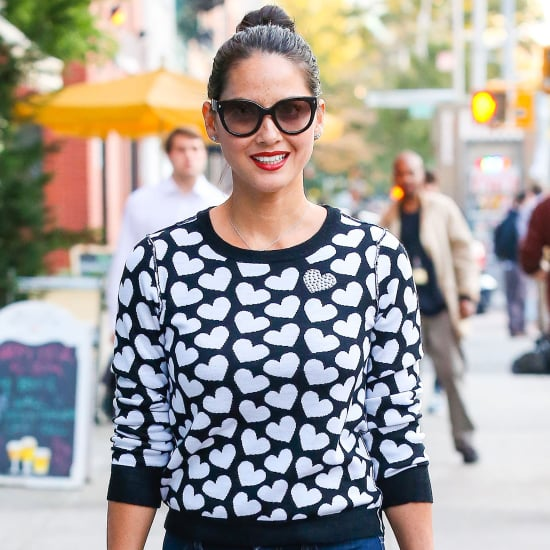 Olivia Munn Wearing Heart Sweater