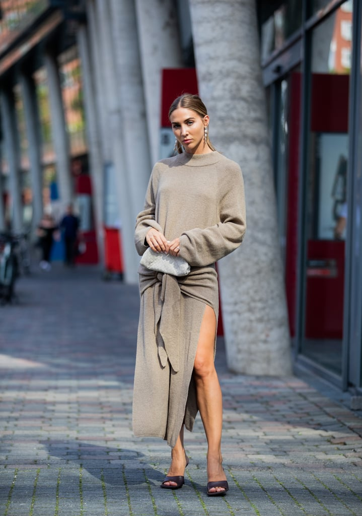 Opt for the brand's square-toed heels with a cozy sweater dress.