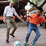 The prince played a quick game of soccer when he visited school children during his two-day tour of Vietnam in November 2016.