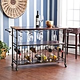 Southern Enterprises Randall Brass Wood Bar Cart With Storage