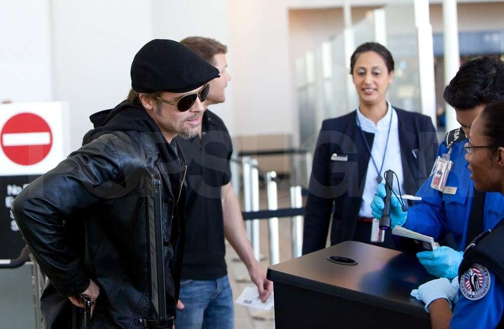 f618eaa451d Pictures of Brad Pitt Wearing Leather Jacket at LAX