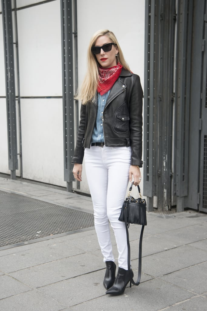 With a pointed toe to dress up white jeans.