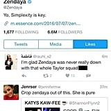 "9:48 p.m. — Zendaya ""Liked"" a Few Tweets That Shaded Taylor"