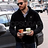 Jake Caffeinates During a Break From the Gyllenhaals' Hectic Movie-Making Schedule