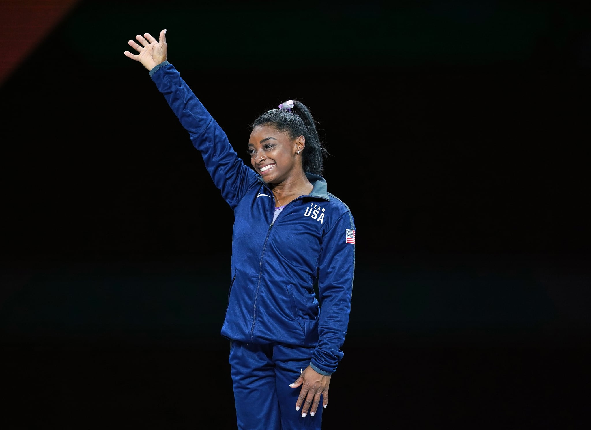 Simone Biles of United States of America while getting her gold medal in floor exercise for women at the 49th FIG Artistic Gymnastics World Championships in  Hanns Martin Schleyer Halle in Stuttgart, Germany on October 13, 2019. (Photo by Ulrik Pedersen/NurPhoto via Getty Images)