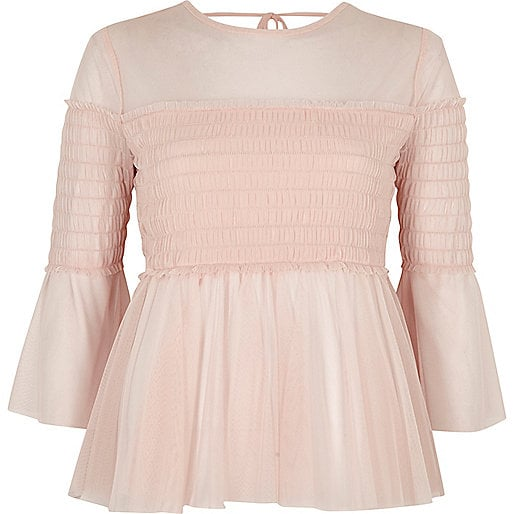River Island Light Pink Mesh Pleated Smock Top (£28)