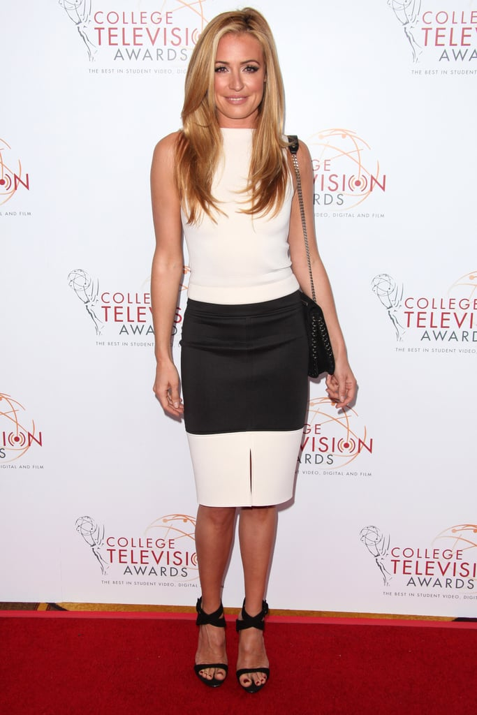 Cat Deeley made a case for the trend in a sleek white top and colorblocked pencil skirt — she even kept her accessories in the same colorway to maximize the effect at the 34th College Television Awards Gala.
