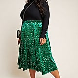 Maeve Carly Pleated Velvet Midi Skirt