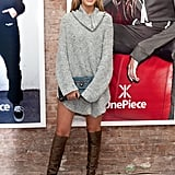 Balance Statement-Making Over-the-Knee Boots With a Slouchy Sweater