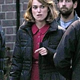 Keira Knightley geared up to film The Imitation Game.