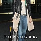 Nicole Richie sported a leather jacket.
