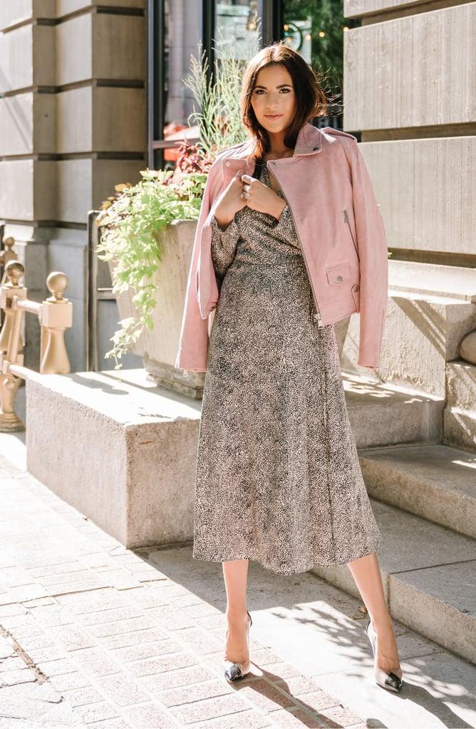 Rachel Parcell Cheetah-Print Long-Sleeved Satin Wrap Dress