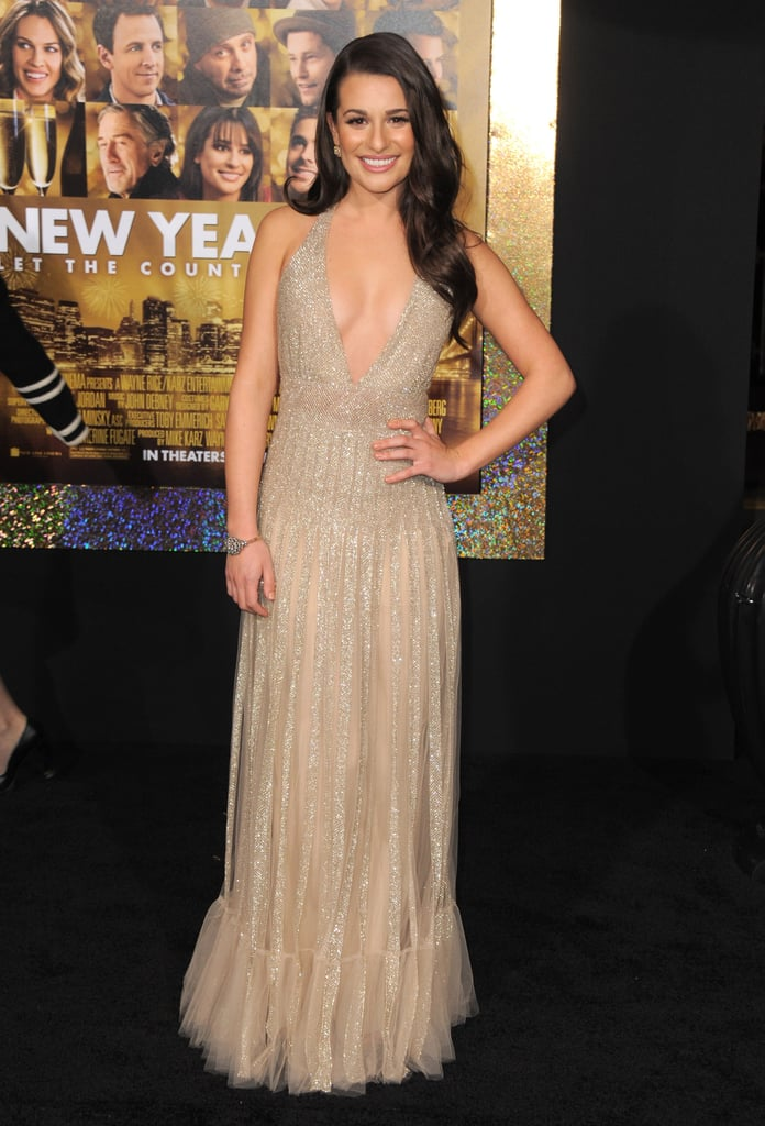 Lea Michele in a sparkly dress at the New Year's Eve premiere.