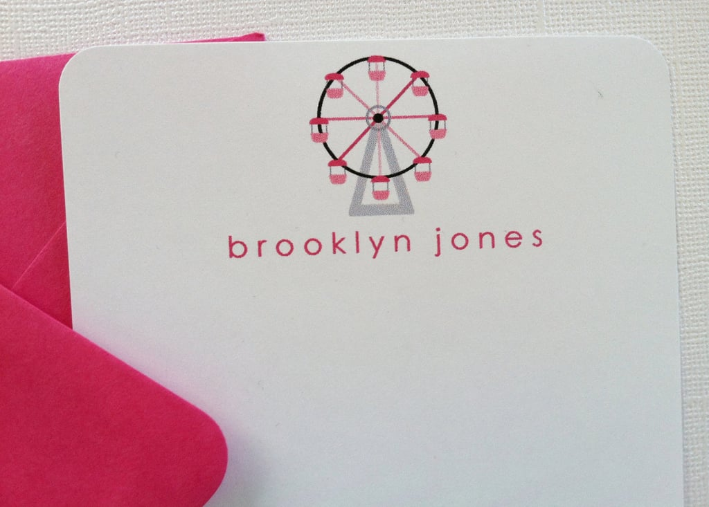 Personalized Pink Ferris Wheel Stationery ($1.25/Card)