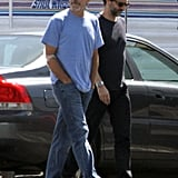 George Clooney looked casual with a beard on set at an airport in Los Angeles.