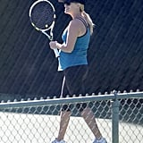 Reese Witherspoon showed off her baby bump while playing tennis in Brentwood.