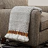 Rivet Modern Hand-Woven Stripe Fringe Throw Blanket